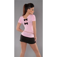 ELEGANT SHORT-SLEEVED SHIRT WITH BOWS PINK