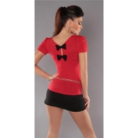ELEGANT SHORT-SLEEVED SHIRT WITH BOWS RED
