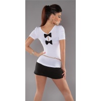 ELEGANT SHORT-SLEEVED SHIRT WITH BOWS WHITE Onesize (UK 8,10,12)
