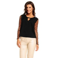 ELEGANT LONG-SLEEVED BLOUSE-SHIRT WITH MESHED SLEEVES BLACK