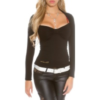 ELEGANT LONG-SLEEVED BOLERO SHIRT WITH LACE AT THE BACK BLACK