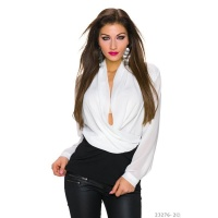 ELEGANT LONG-SLEEVED CHIFFON SHIRT IN WRAP-LOOK WHITE/BLACK