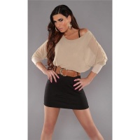 ELEGANT LONG-SLEEVED MINI DRESS WITH BELT CHIFFON BEIGE/BLACK UK 10/12