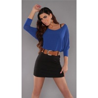 ELEGANT LONG-SLEEVED MINIDRESS WITH BELT CHIFFON BLUE/BLACK
