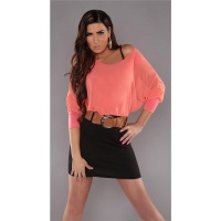 ELEGANT LONG-SLEEVED MINIDRESS WITH BELT CHIFFON CORAL/BLACK UK 10/12