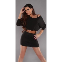ELEGANT LONG-SLEEVED MINIDRESS WITH BELT CHIFFON BLACK