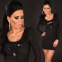 ELEGANT LONG-SLEEVED MINI DRESS WITH SEQUINS BLACK