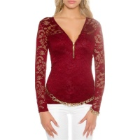 ELEGANT LONG-SLEEVED SHIRT MADE OF LACE WITH ZIPPER WINE-RED