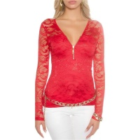 ELEGANT LONG-SLEEVED SHIRT MADE OF LACE WITH ZIPPER RED