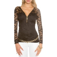 ELEGANT LONG-SLEEVED SHIRT MADE OF LACE WITH ZIPPER BLACK