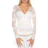 ELEGANT LONG-SLEEVED SHIRT MADE OF LACE WITH ZIPPER WHITE