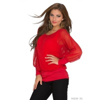 ELEGANT LONG-SLEEVED SHIRT WITH TULLE TRANSPARENT RED