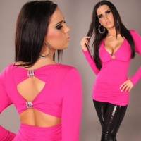 ELEGANT LONG-SLEEVED SHIRT LONG SHIRT FUCHSIA