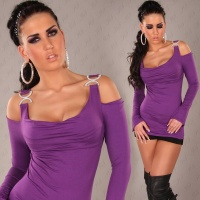 ELEGANT LONG-SLEEVED SHIRT LONGSHIRT RHINESTONE-LOOK PURPLE Onesize (UK 8,10,12)