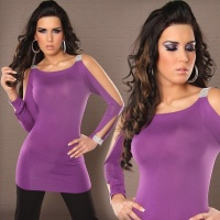 SEXY LONG-SLEEVED SHIRT LONGSHIRT RHINESTONE-LOOK PURPLE
