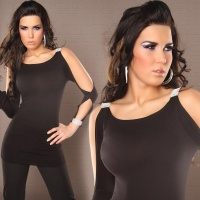 SEXY LONG-SLEEVED SHIRT LONGSHIRT RHINESTONE LOOK BLACK