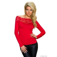 ELEGANT LONG-SLEEVED SHIRT WITH LACE AT THE NECKLINE RED
