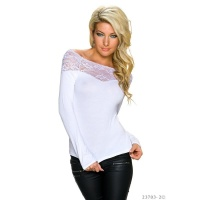 ELEGANT LONG-SLEEVED SHIRT WITH LACE AT THE NECKLINE WHITE Onesize (UK 8,10,12)