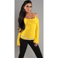 ELEGANT LONG-SLEEVED SHIRT WITH RHINESTONES YELLOW