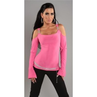 ELEGANT LONG-SLEEVED SHIRT WITH RHINESTONES FUCHSIA
