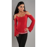 ELEGANT LONG-SLEEVED SHIRT WITH RHINESTONES RED