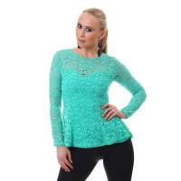 ELEGANT LONG-SLEEVED SHIRT TUNIC MADE OF LACE MINT GREEN