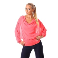 ELEGANT LONG-SLEEVED COWL-NECK SHIRT WITH CHIFFON CORAL