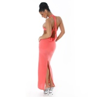 ELEGANT HALTERNECK EVENING DRESS APRICOT