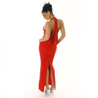 ELEGANT HALTERNECK EVENING DRESS RED