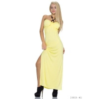 ELEGANT LONG HALTERNECK MAXI DRESS YELLOW