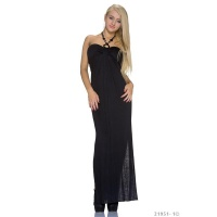 ELEGANT LONG HALTERNECK MAXI DRESS BLACK