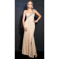 GLAMOROUS ONE-SHOULDER GALA LACE DRESS WITH SEQUINS BEIGE