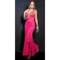 GLAMOROUS ONE-SHOULDER GALA LACE DRESS WITH SEQUINS FUCHSIA