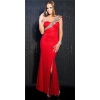 ELEGANTES LANGES ONE-SHOULDER ABENDKLEID AUS SPITZE ROT
