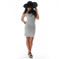 ELEGANT LONG KNITTED DRESS LIGHT GREY