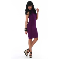 ELEGANT LONG KNITTED DRESS PURPLE