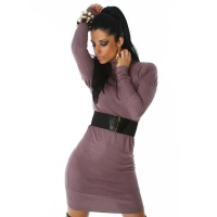 ELEGANT LONG KNITTED DRESS WITH BELT OLD PURPLE