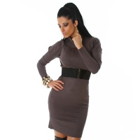 ELEGANT LONG KNITTED DRESS WITH BELT DARK GREY