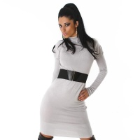 ELEGANT LONG KNITTED DRESS WITH BELT LIGHT GREY
