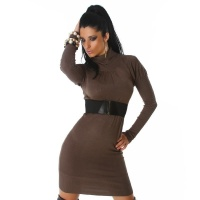 ELEGANT LONG KNITTED DRESS WITH BELT KHAKI