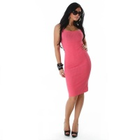ELEGANT LONG KNITTED DRESS FUCHSIA