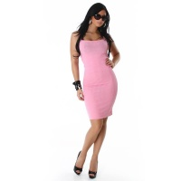 ELEGANT LONG KNITTED DRESS PINK