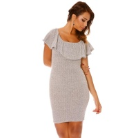 ELEGANT LATINA STYLE MINIDRESS WITH FLOUNCED NECKLINE GREY