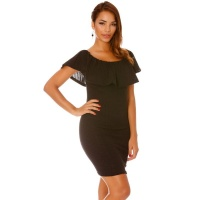 ELEGANT LATINA STYLE MINIDRESS WITH FLOUNCED NECKLINE BLACK