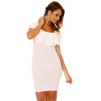 ELEGANT LATINA STYLE MINIDRESS WITH FLOUNCED NECKLINE WHITE