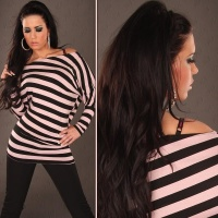 ELEGANT LONG SHIRT WITH BATWING SLEEVES PINK/BLACK Onesize (UK 8,10,12)
