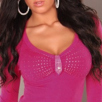 ELEGANT LONG-SLEEVED SHIRT WITH RHINESTONES FUCHSIA Onesize (UK 8,10,12)