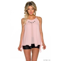 ELEGANTES LOOSE-FIT CHIFFON TOP MIT KETTE TRANSPARENT ROSA