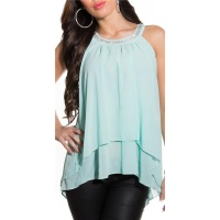 ELEGANTES LOOSE-FIT CHIFFON TOP MIT STRASS TRANSPARENT MINT