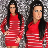 ELEGANT LUXURY KNITTED DRESS WITH GLITTER RED UK 12/14 (L/XL)